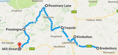 Sept walk map - Thursday to Saturday